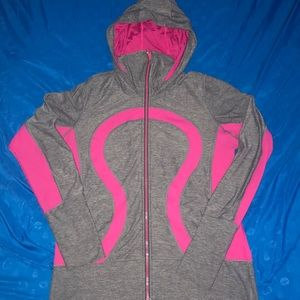 Lululemon pink/gray zip up hoodie size 12 (large)